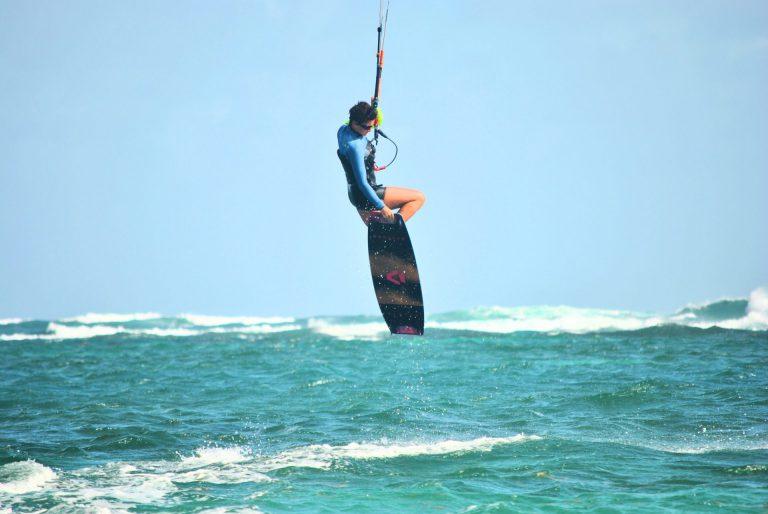 Maria Kiteboarding on waves