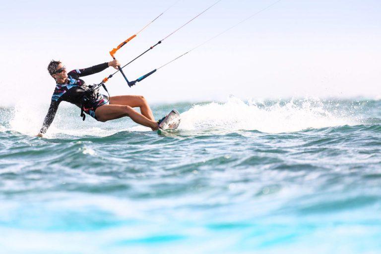 Maria Kiteboarding on the sea